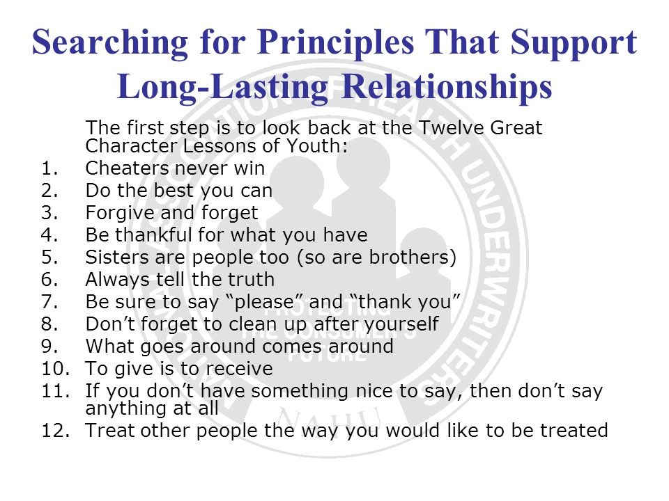 Searching for Principles That Support Long-Lasting Relationships