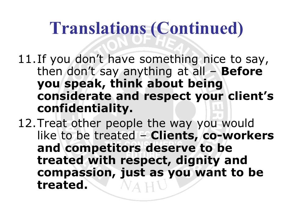 Translations (Continued)