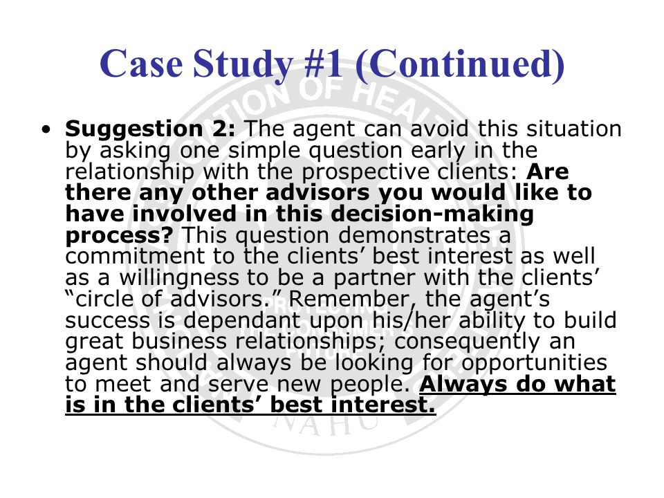 Case Study #1 (Continued)