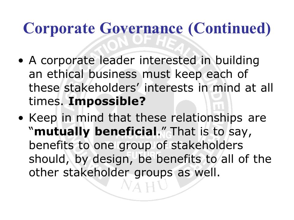 Corporate Governance (Continued)