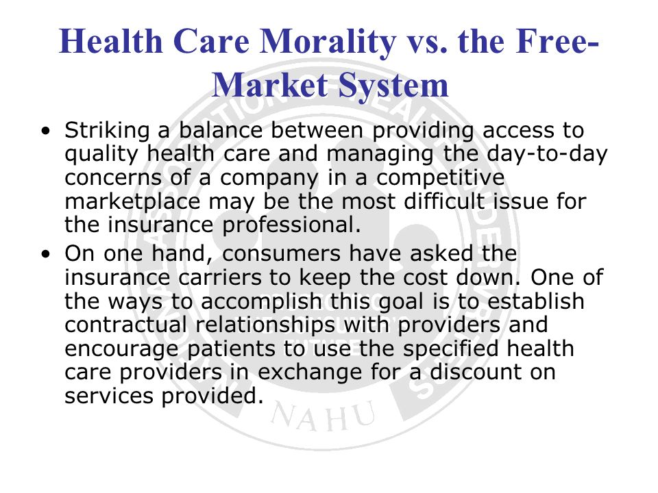 Health Care Morality vs. the Free-Market System