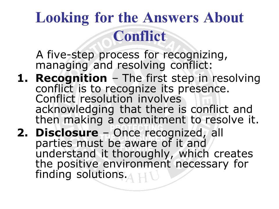 Looking for the Answers About Conflict