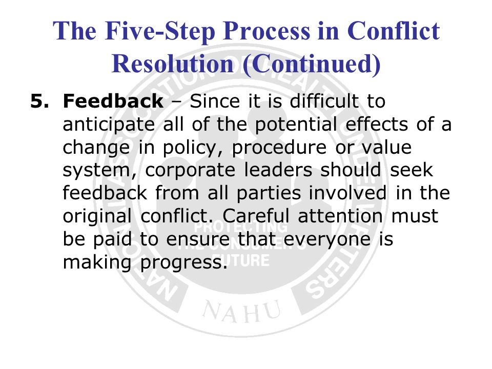 The Five-Step Process in Conflict Resolution (Continued)