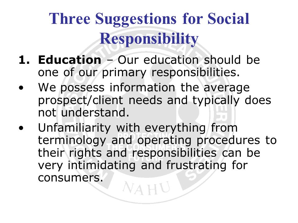 Three Suggestions for Social Responsibility