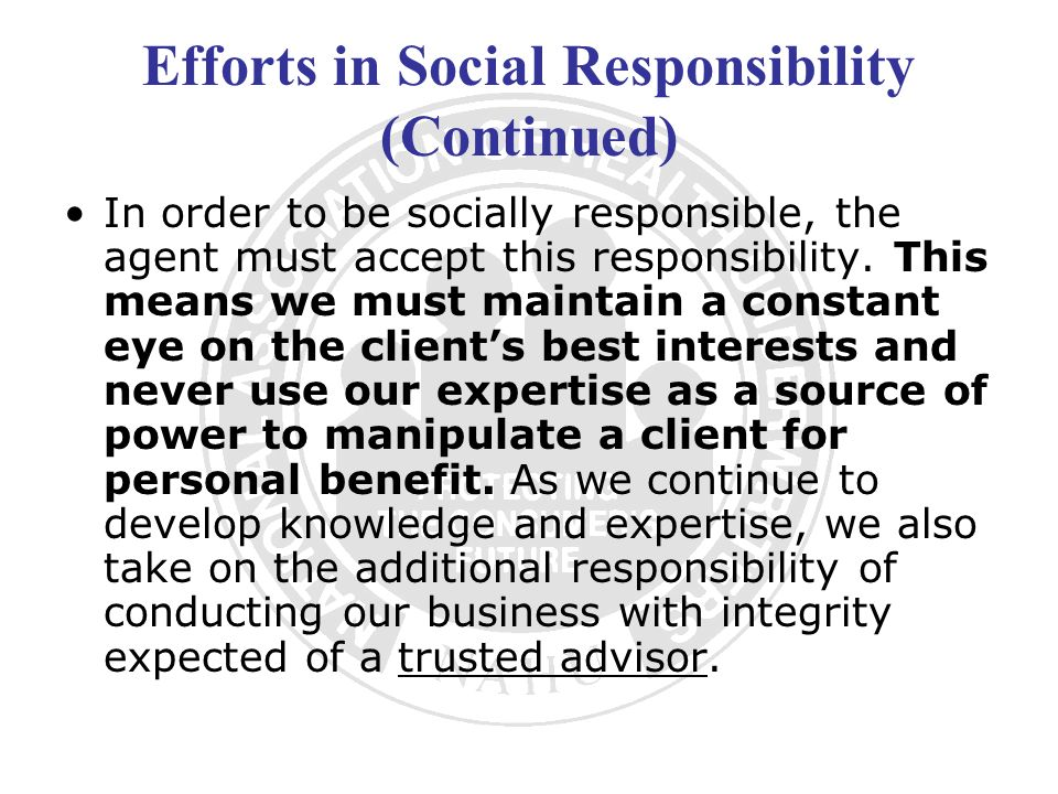 Efforts in Social Responsibility (Continued)