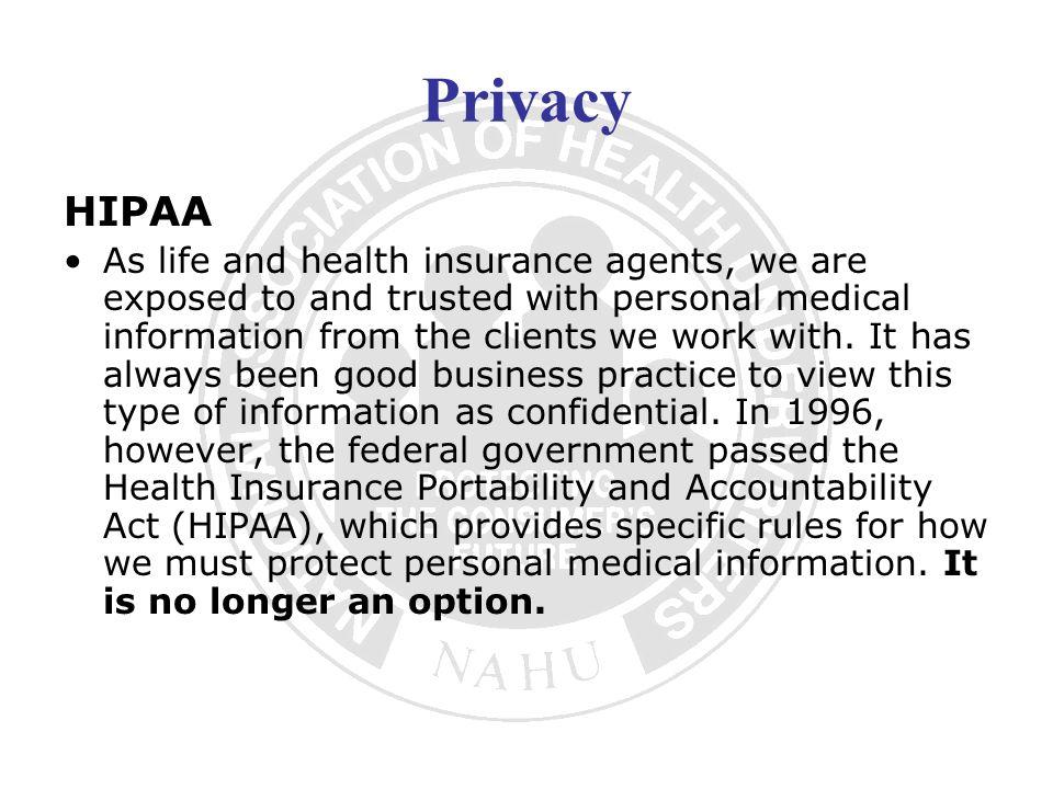 Privacy HIPAA.
