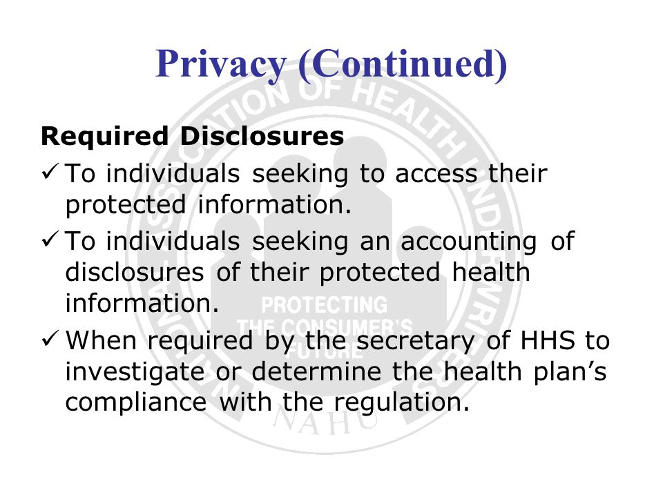 Privacy (Continued) Required Disclosures