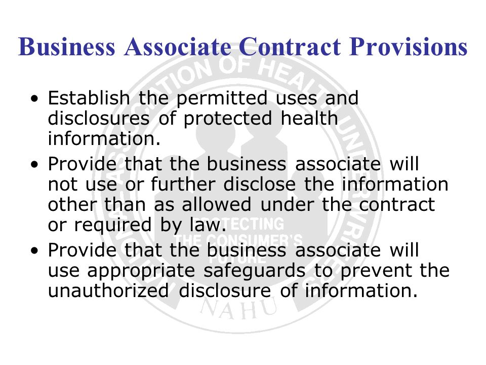 Business Associate Contract Provisions