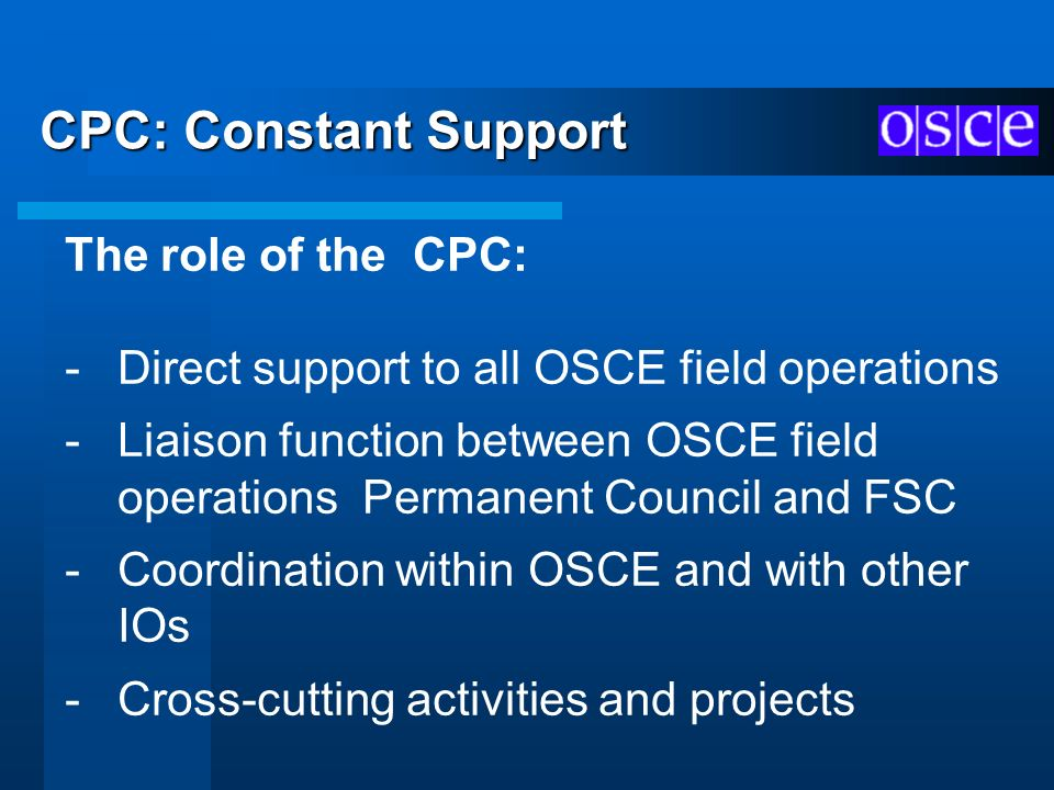 CPC: Constant Support The role of the CPC: