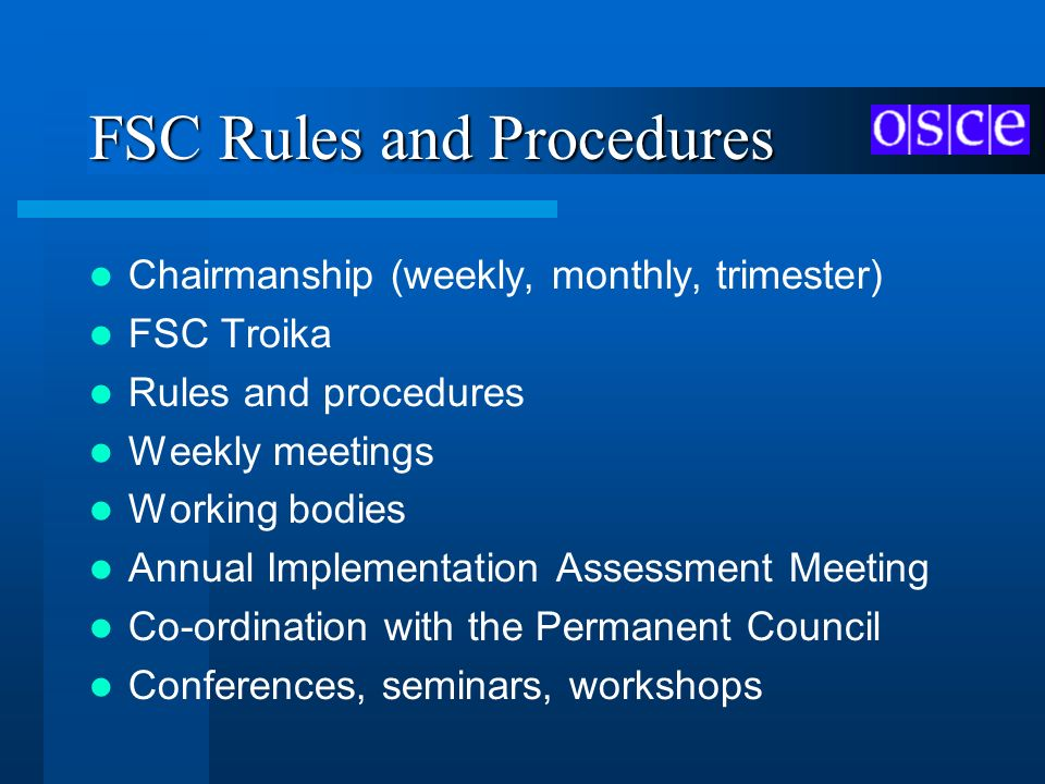 FSC Rules and Procedures