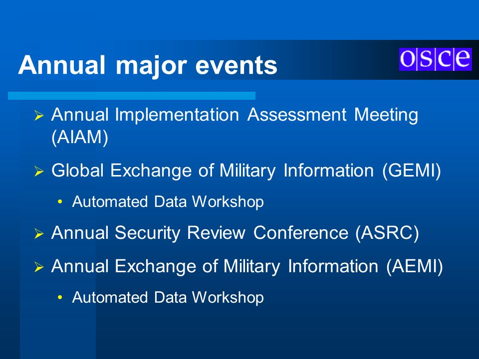Annual major events Annual Implementation Assessment Meeting (AIAM)