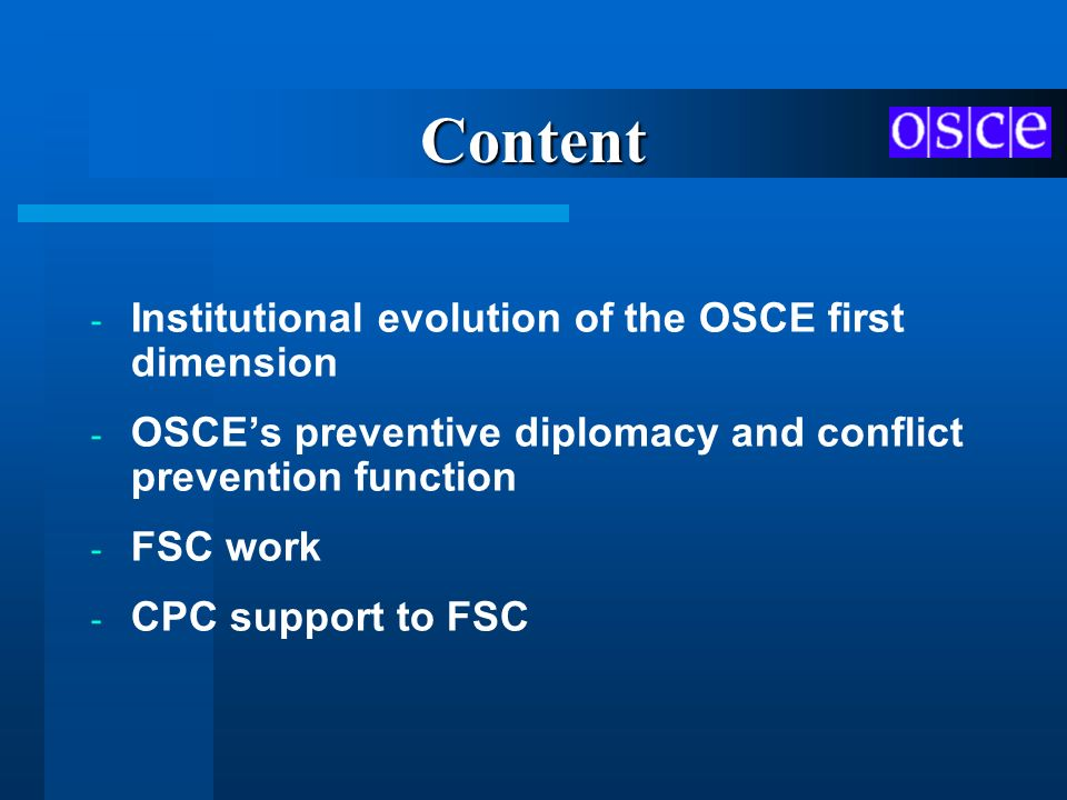 Content Institutional evolution of the OSCE first dimension