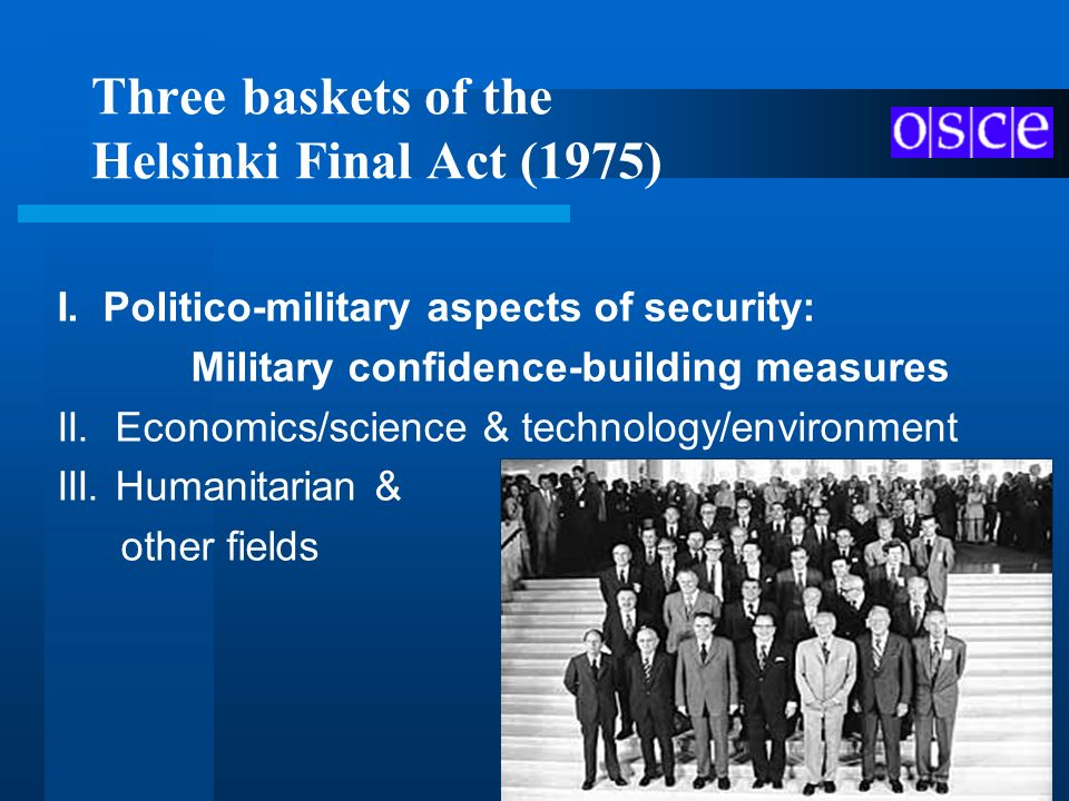 Three baskets of the Helsinki Final Act (1975)