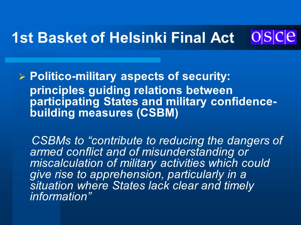 1st Basket of Helsinki Final Act