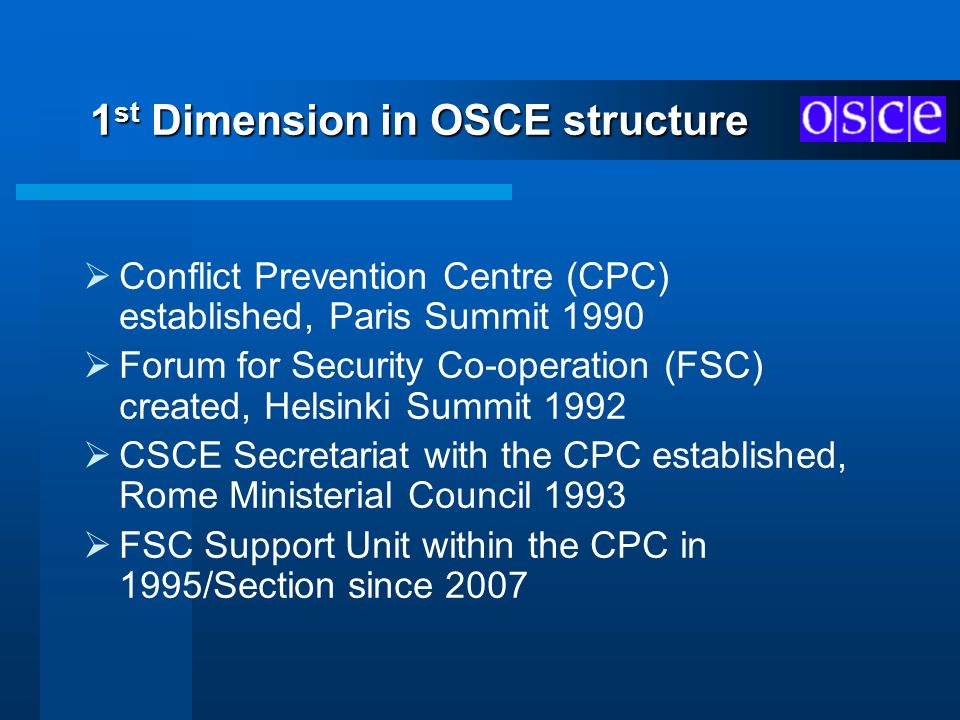 1st Dimension in OSCE structure
