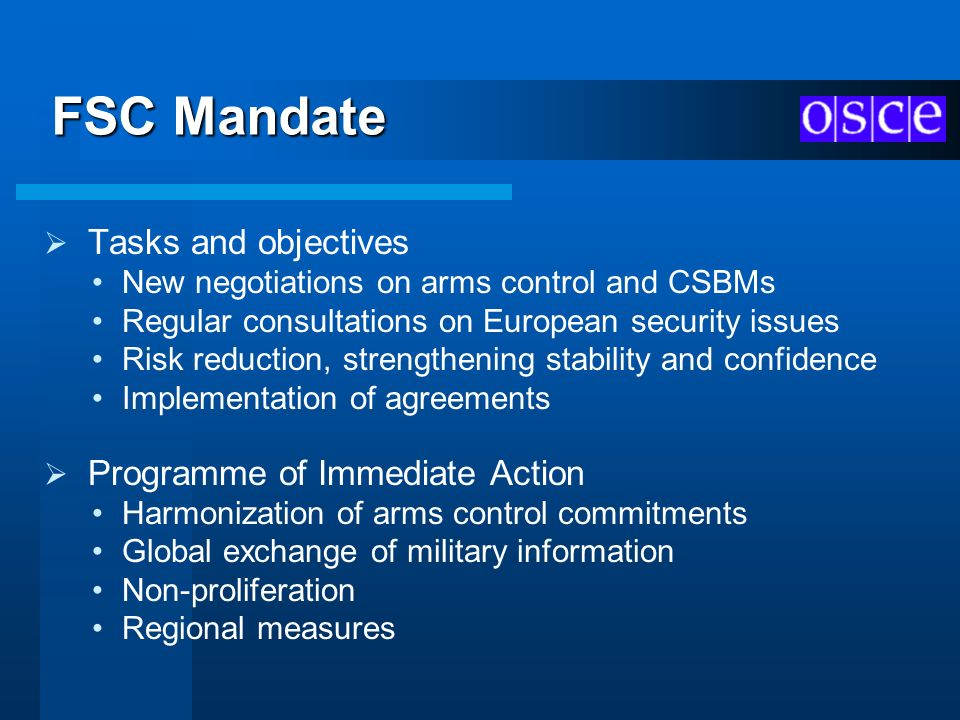 FSC Mandate New negotiations on arms control and CSBMs