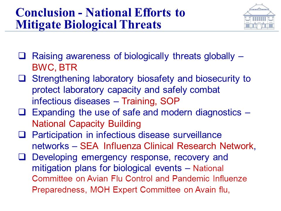 Conclusion - National Efforts to Mitigate Biological Threats