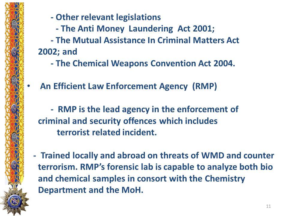 - Other relevant legislations