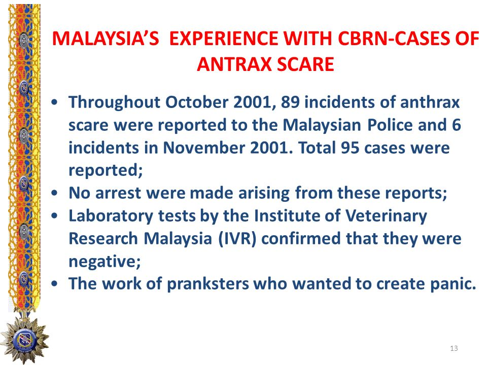 MALAYSIA'S EXPERIENCE WITH CBRN-CASES OF ANTRAX SCARE