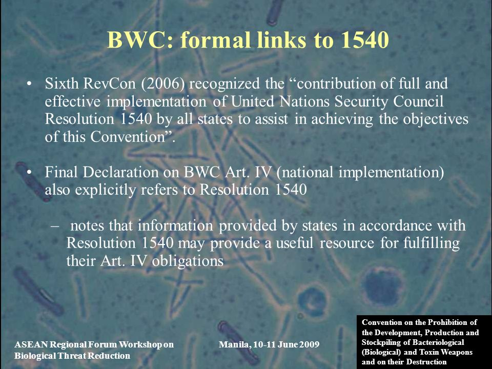 BWC: formal links to 1540