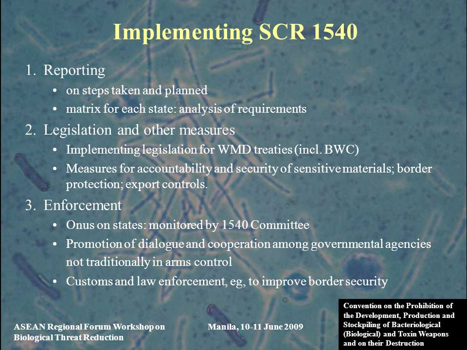 Implementing SCR 1540 Reporting Legislation and other measures