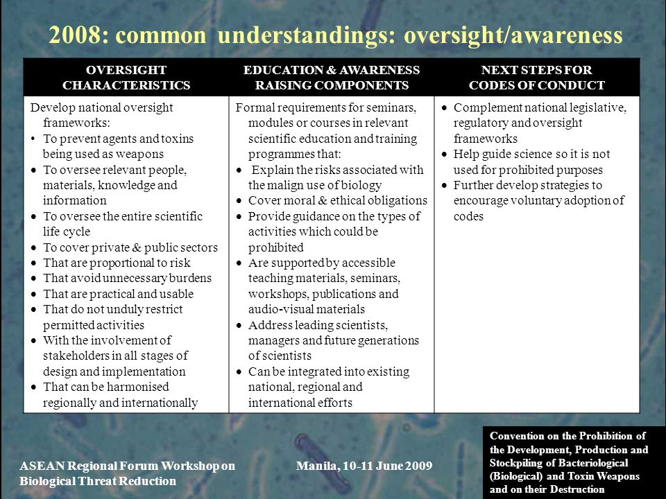2008: common understandings: oversight/awareness