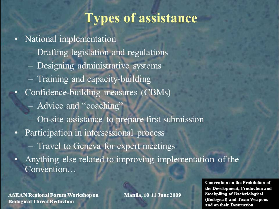 Types of assistance National implementation