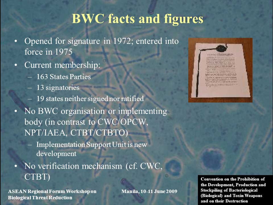 BWC facts and figures Opened for signature in 1972; entered into force in Current membership: