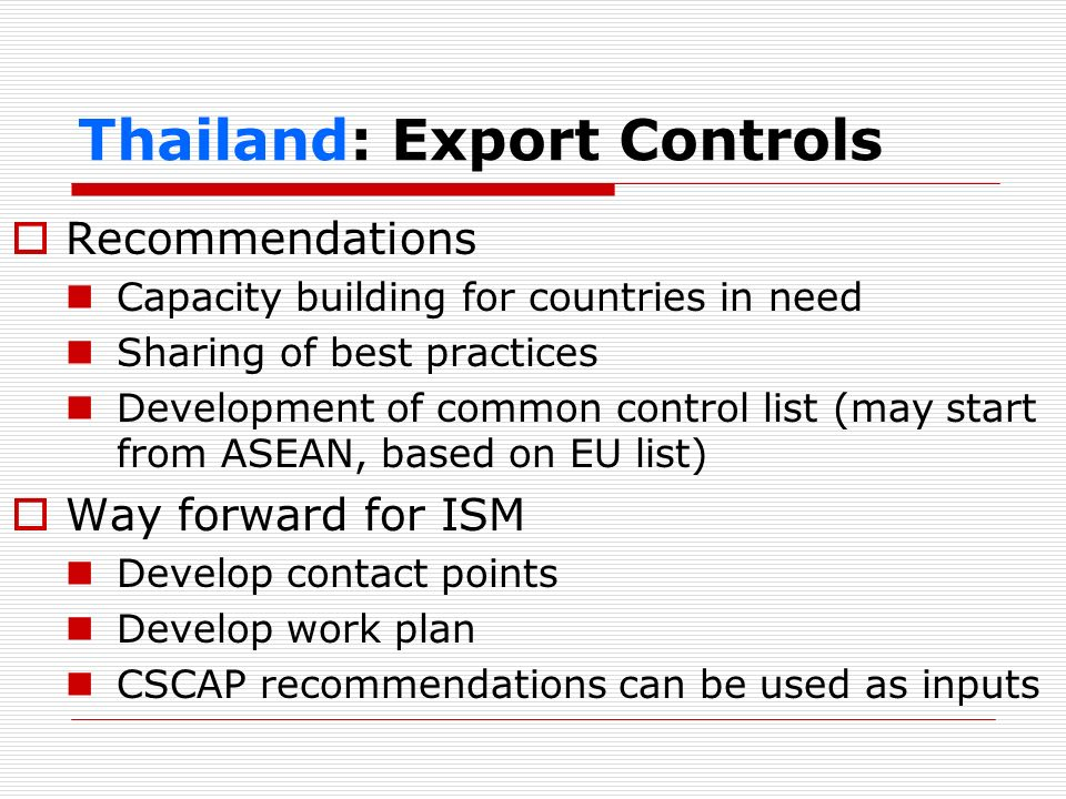 Thailand: Export Controls