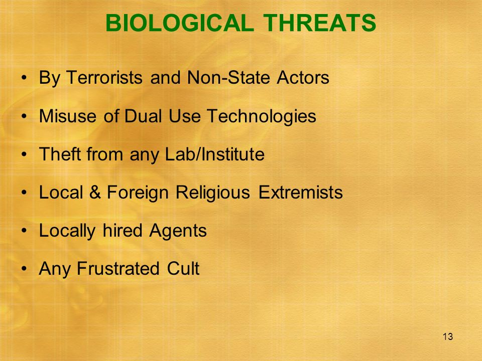 BIOLOGICAL THREATS By Terrorists and Non-State Actors