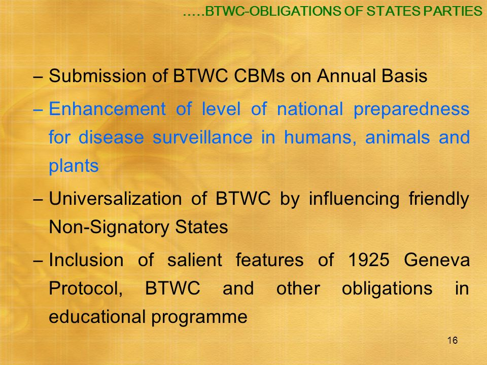 Submission of BTWC CBMs on Annual Basis