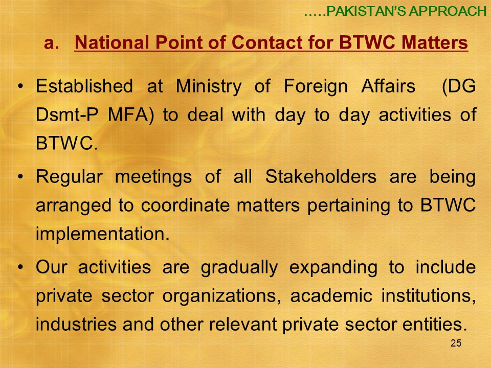 a. National Point of Contact for BTWC Matters