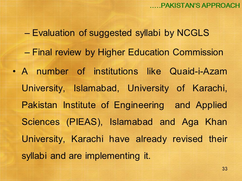 Evaluation of suggested syllabi by NCGLS