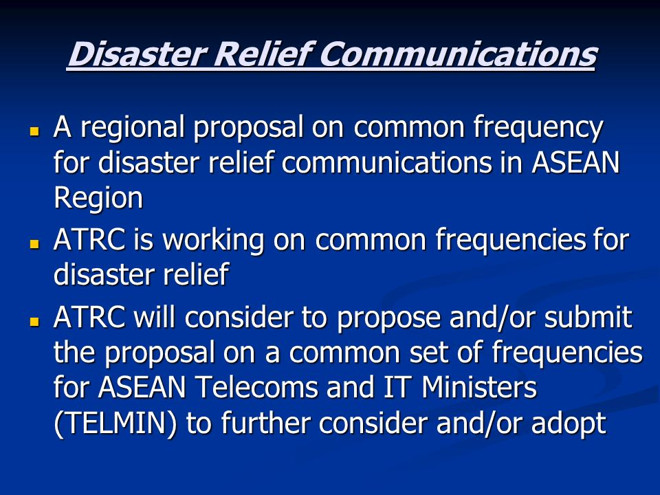 Disaster Relief Communications