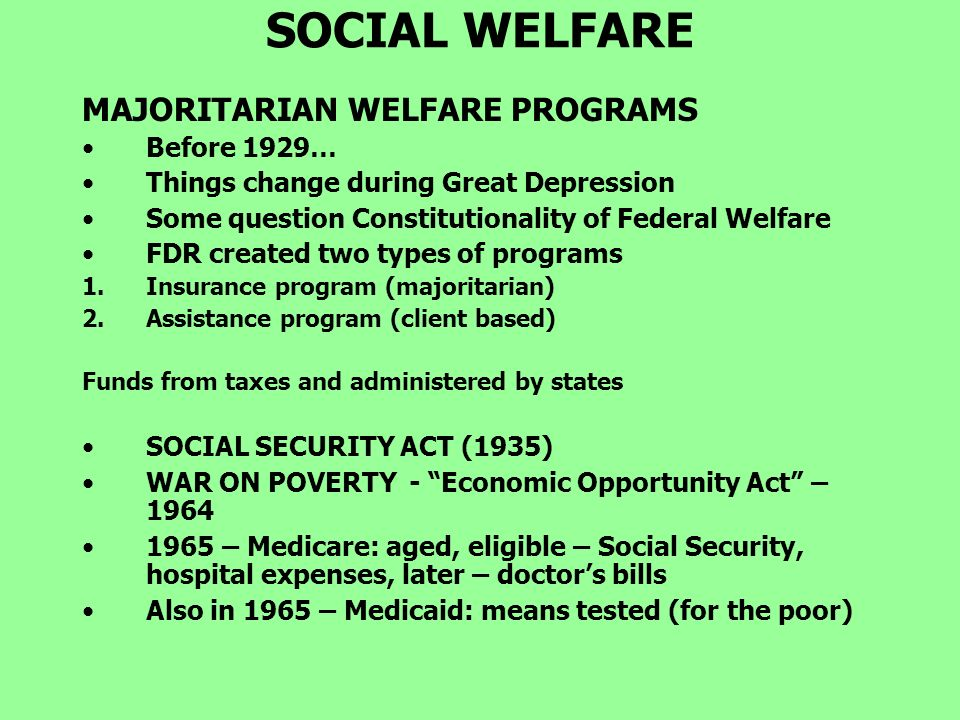 social welfare programs essay By welfare and other social programs were the principal reason for the demoralization of the poor the only solution was to abolish most aid for the working-aged7.