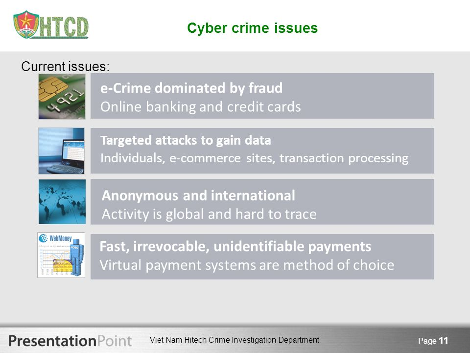 e-Crime dominated by fraud Online banking and credit cards