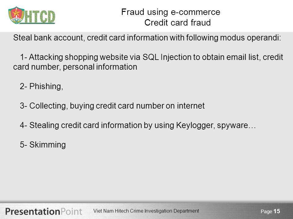 Fraud using e-commerce Credit card fraud