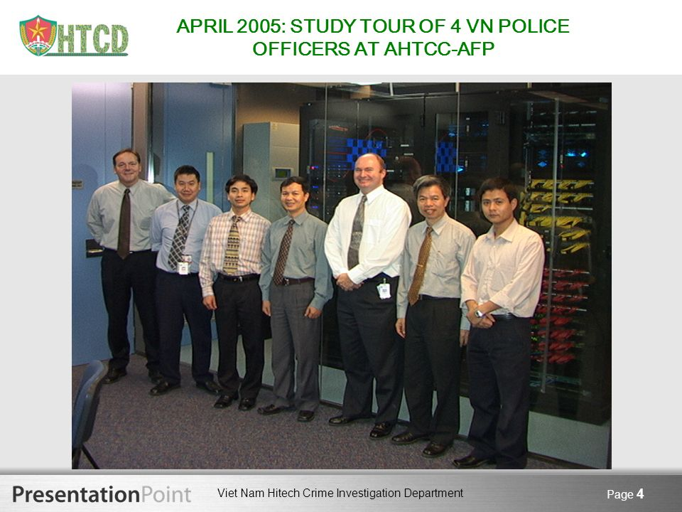 APRIL 2005: STUDY TOUR OF 4 VN POLICE OFFICERS AT AHTCC-AFP