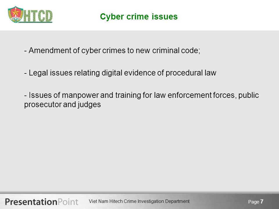Cyber crime issues - Amendment of cyber crimes to new criminal code;