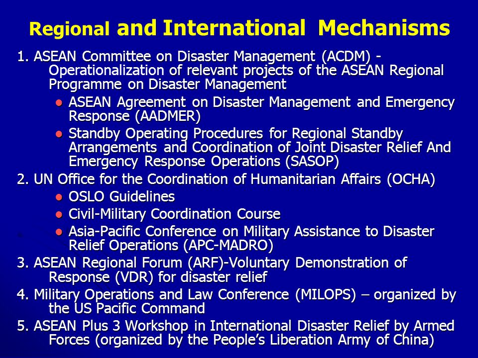 Regional and International Mechanisms