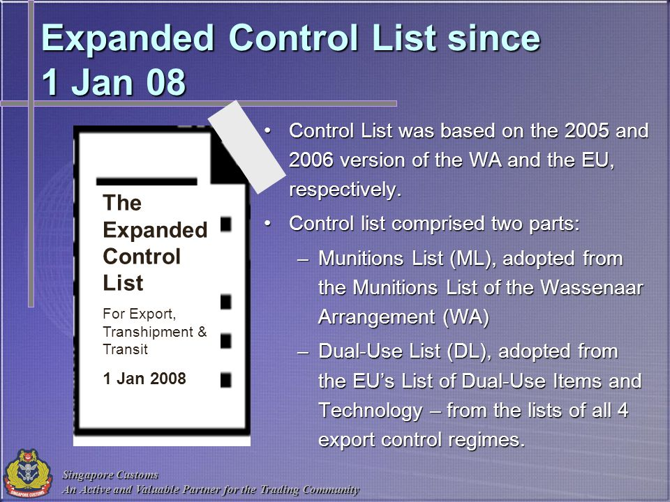 Expanded Control List since 1 Jan 08