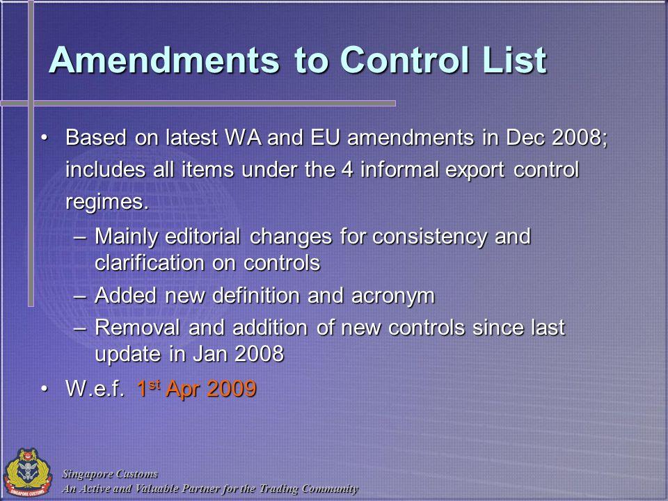Amendments to Control List