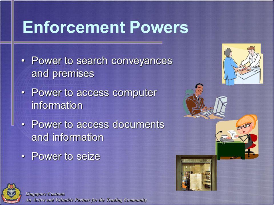 Enforcement Powers Power to search conveyances and premises