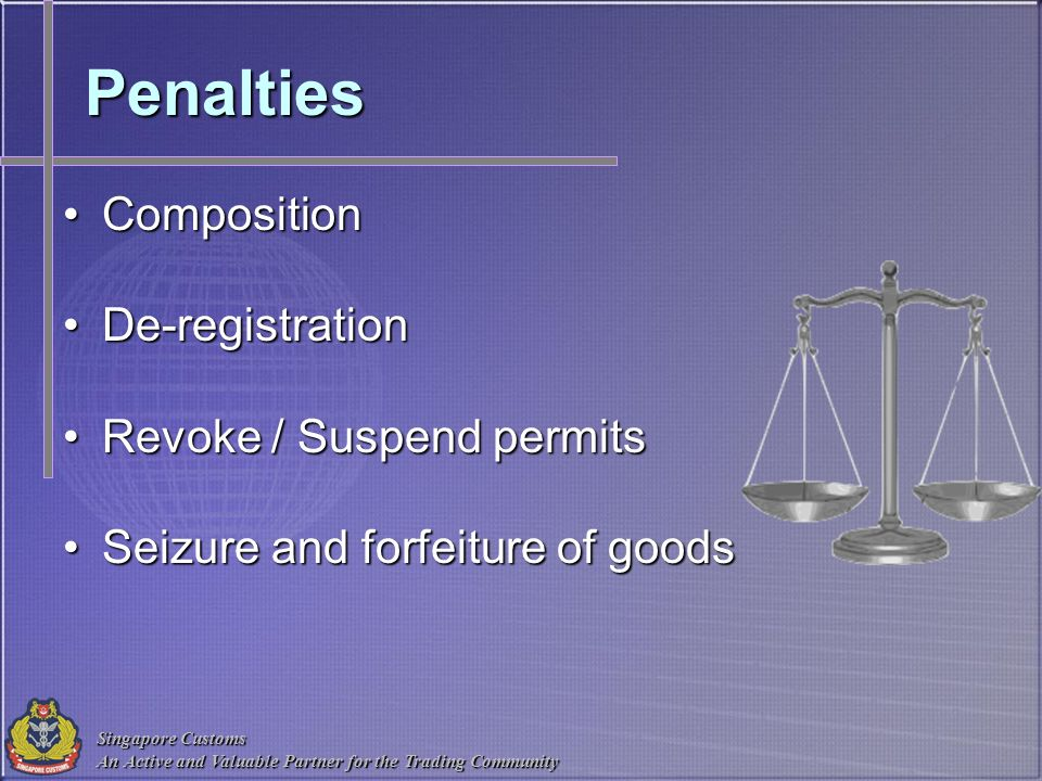 Penalties Composition De-registration Revoke / Suspend permits