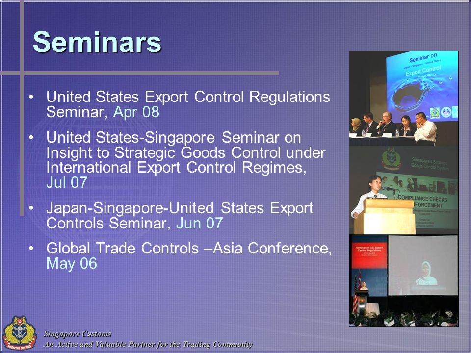 Seminars United States Export Control Regulations Seminar, Apr 08