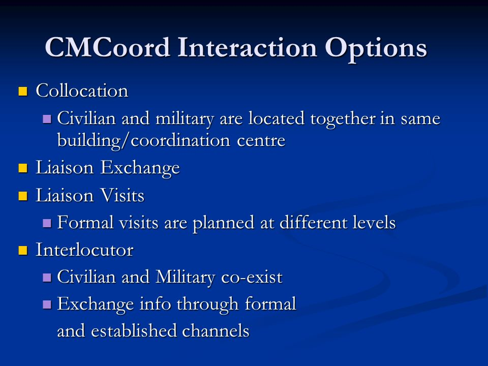 CMCoord Interaction Options