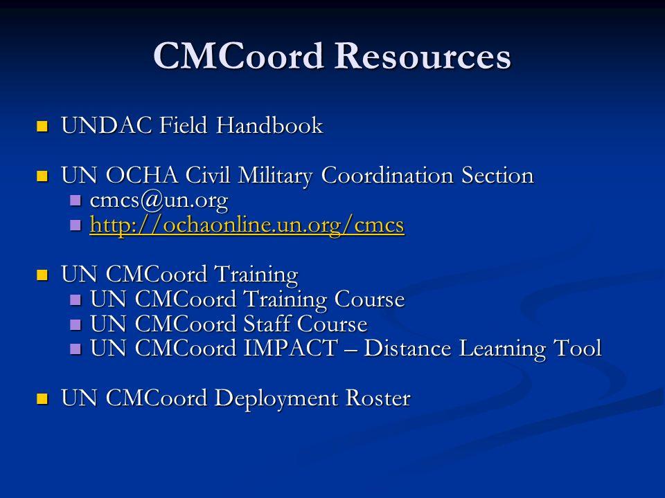 CMCoord Resources UNDAC Field Handbook