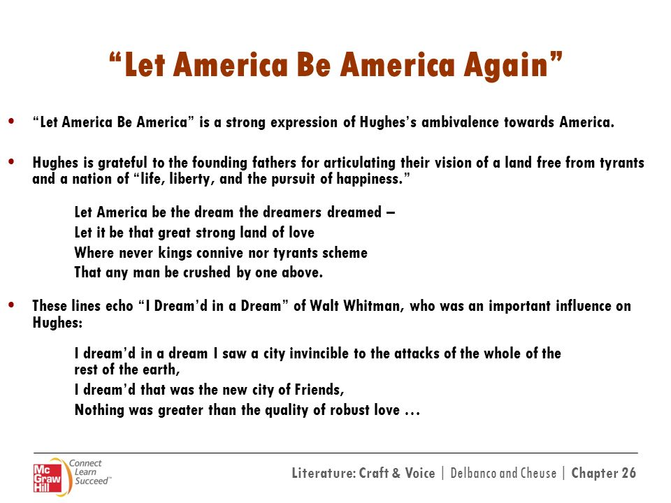 let america be america again by Apa citation hughes, l (2004) let america be america again and other poems (1st vintage books ed) new york: vintage books.