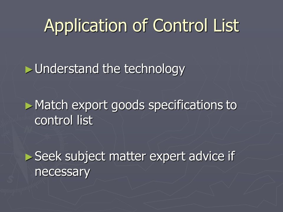 Application of Control List