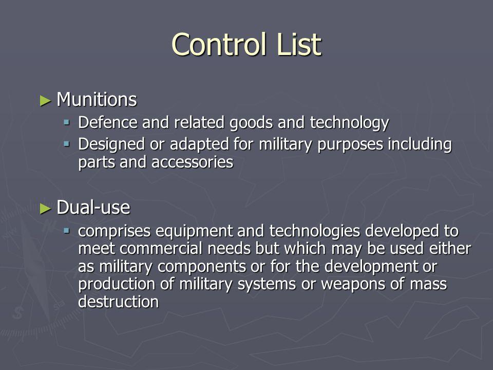 Control List Munitions Dual-use